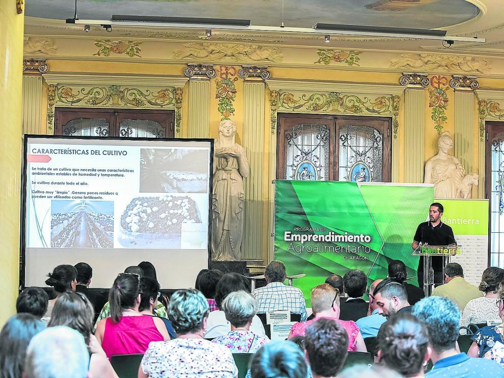 Álvaro Alcalá, durante la presentación de su proyecto empresarial Champiñón del Manubles, en la sede de Bantierra.