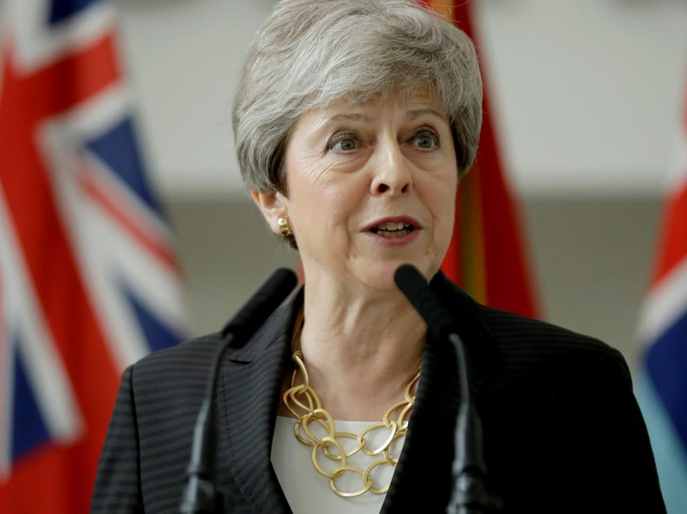 Britain's Prime Minister Theresa May delivers a speech at headquarters of Joint Forces Command in Northwood, London, Britain July 8, 2019. Matt Dunham/Pool via REUTERS [[[REUTERS VOCENTO]]] BRITAIN-EU/