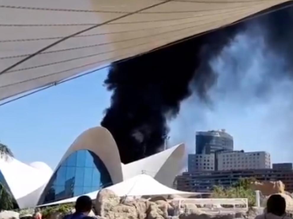 Desalojan el Oceanogràfic por el incendio de una torre de las instalaciones