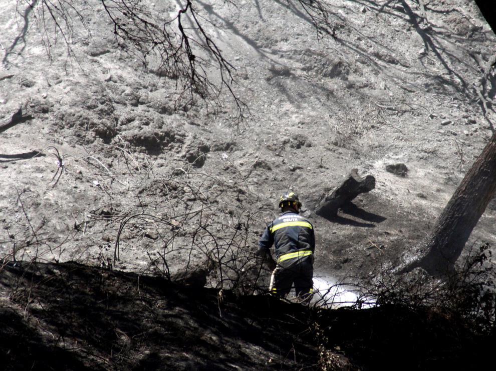 Un bombero trabajando en el incendio forestal de Ceuta.