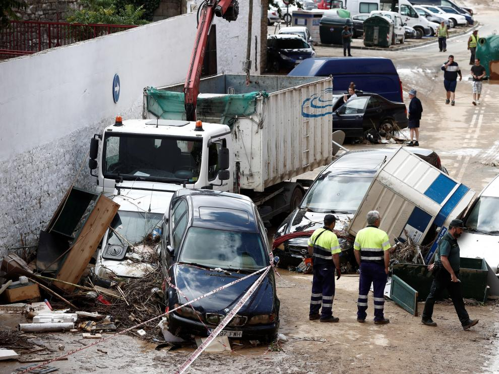 Graves daños en Tafalla tras las lluvias.