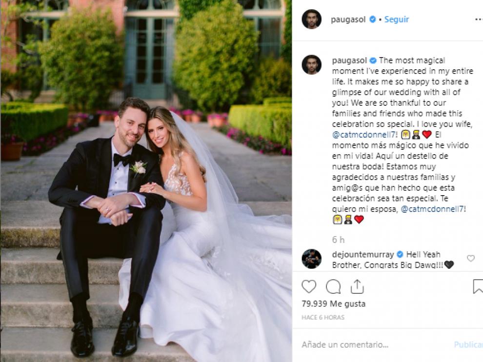 Pau Gasol se ha casado con la periodista Catherine McDonnell