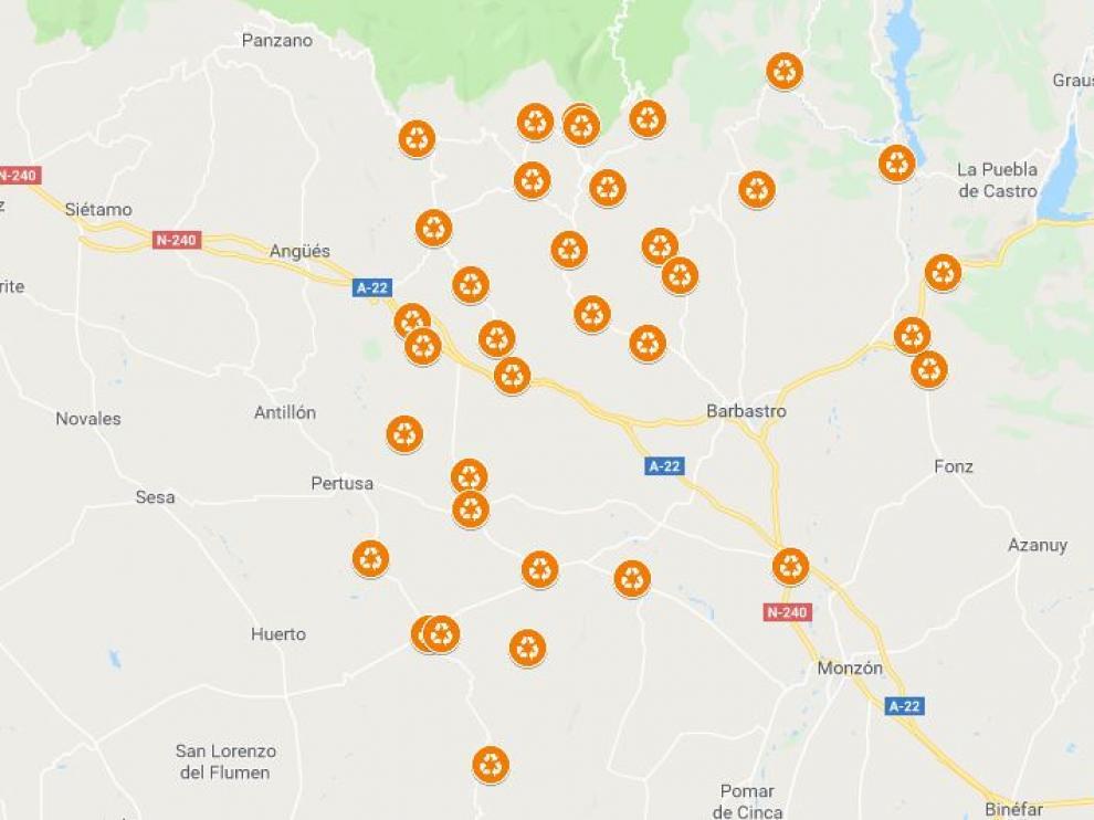 Mapa de las localidades que disponen de contenedor para aceite.