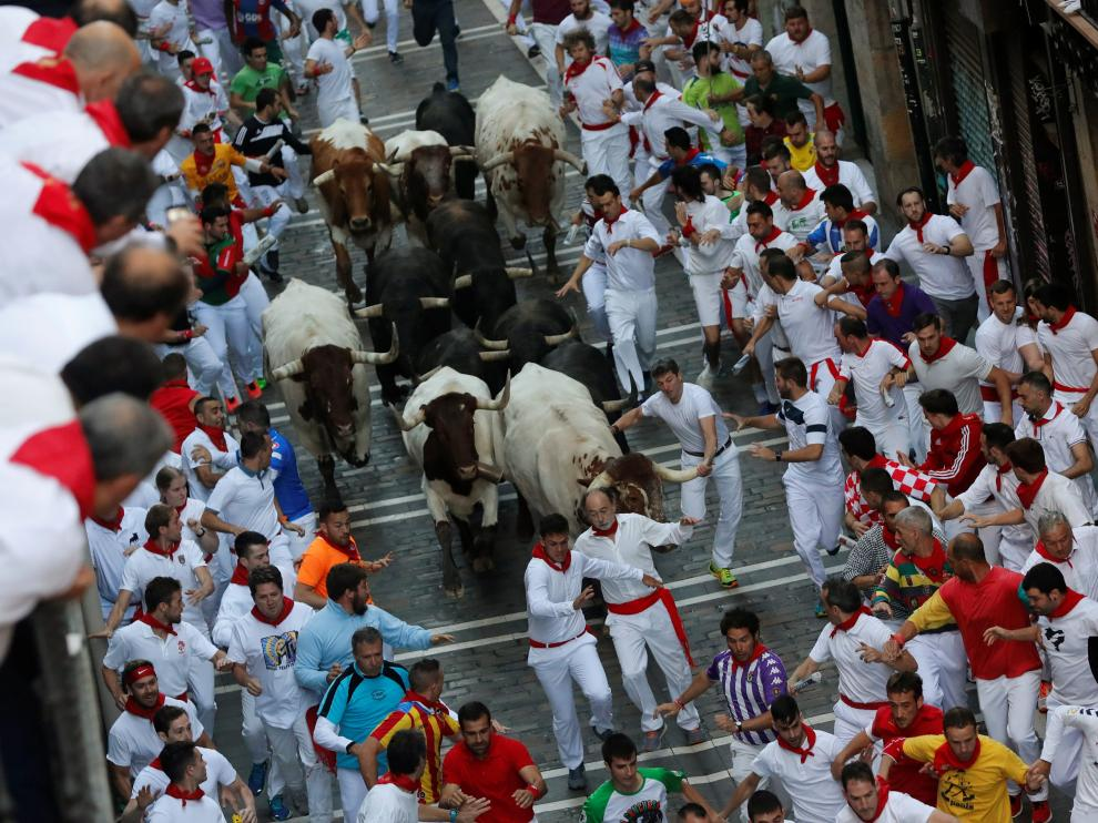 Revellers sprint near bulls and steers during the running of the bulls at the San Fermin festival in Pamplona, Spain, July 10, 2019. REUTERS/Susana Vera [[[REUTERS VOCENTO]]] SPAIN-CULTURE/BULLS