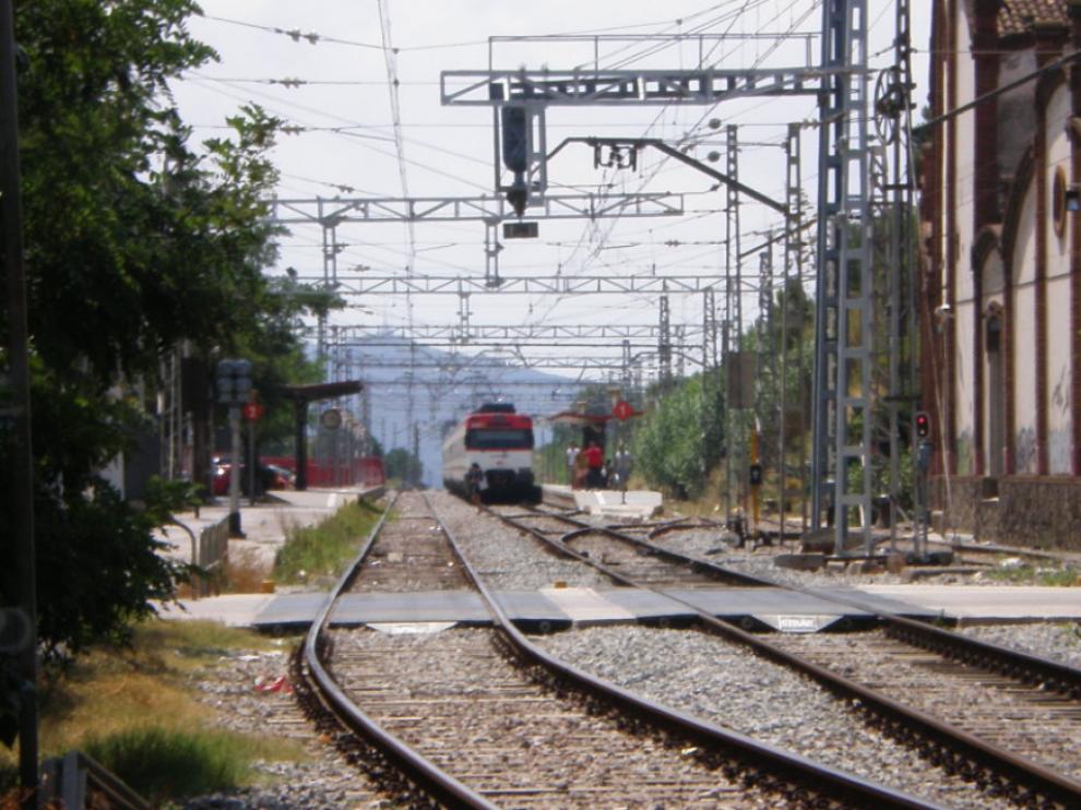 Vías de tren cerca de la estación de Mollet del Vallès, Barcelona