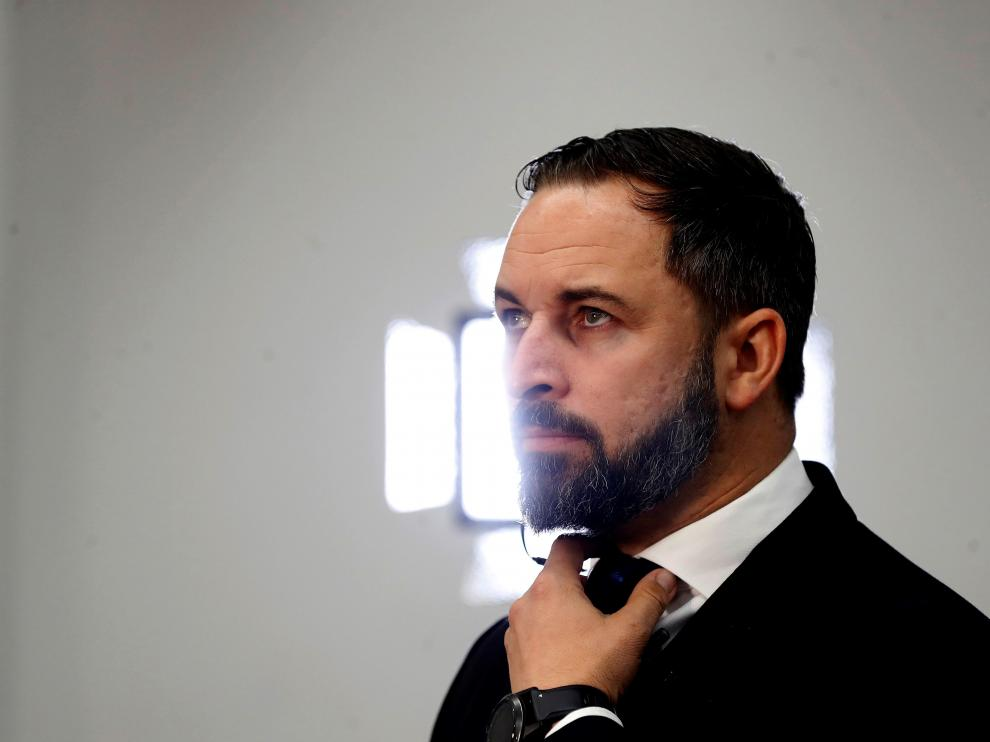 El líder de Vox, Santiago Abascal, a su llegada este martes al Congreso de los Diputados.
