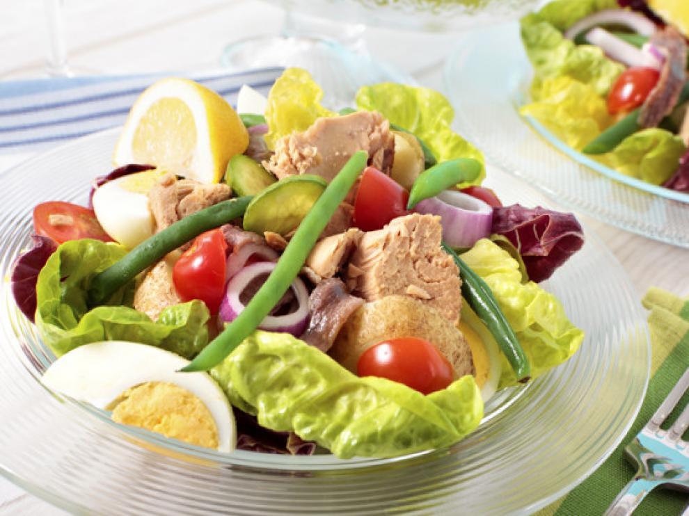 Salad Nicoise arranged on a table