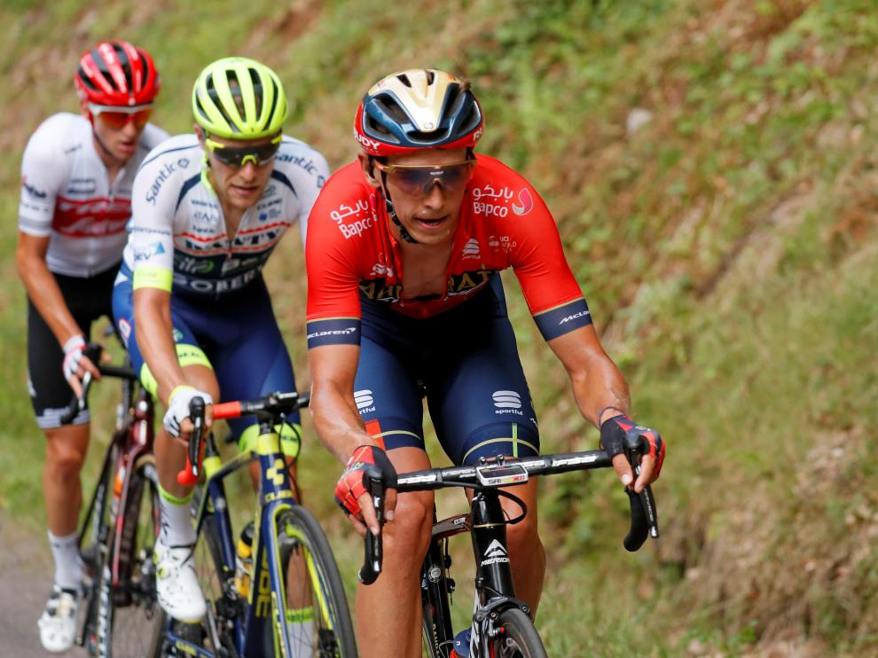 Cycling - Tour de France - The 160.5-km Stage 6 from Mulhouse to La Planche des Belles Filles - July 11, 2019 - Bahrain-Merida rider Dylan Teuns of Belgium, Wanty-Gobert Cycling Team rider Xandro Meurisse of Belgium and Trek-Segafredo rider Giulio Ciccone of Italy in action. REUTERS/Gonzalo Fuentes [[[REUTERS VOCENTO]]] CYCLING-FRANCE/