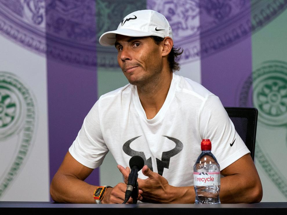 Tennis - Wimbledon - All England Lawn Tennis and Croquet Club, London, Britain - July 12, 2019  Spain's Rafael Nadal during a press conference after his semi-final match  Adam Warner/Pool via REUTERS [[[REUTERS VOCENTO]]] TENNIS-WIMBLEDON/