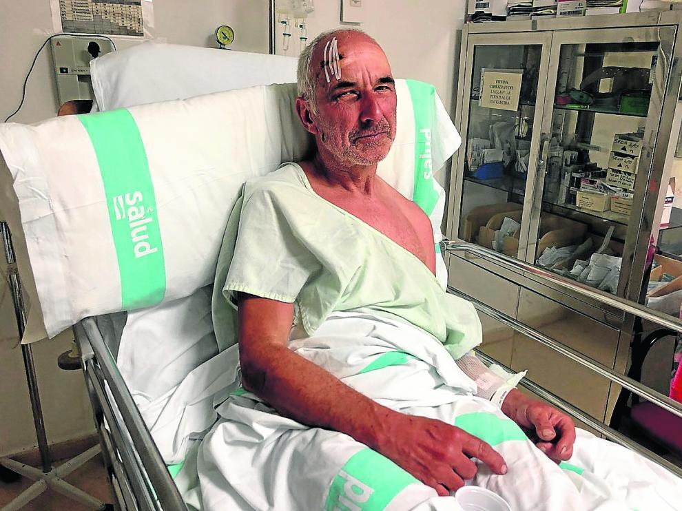 El montañero alemán fue atendido este sábado en el servicio de Urgencias del hospital de Barbastro.