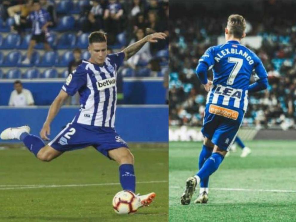 Vigaray (dcha.) y Blanco (izda.), el año pasado con la camiseta del Alavés en la recta final de la liga de Primera División.