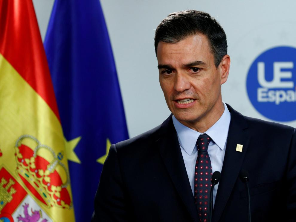 FILE PHOTO: Spanish Prime Minister Pedro Sanchez attends a news conference after the European Union leaders summit, in Brussels, Belgium, July 2, 2019. REUTERS/Francois Lenoir/File Photo [[[REUTERS VOCENTO]]] SPAIN-POLITICS/