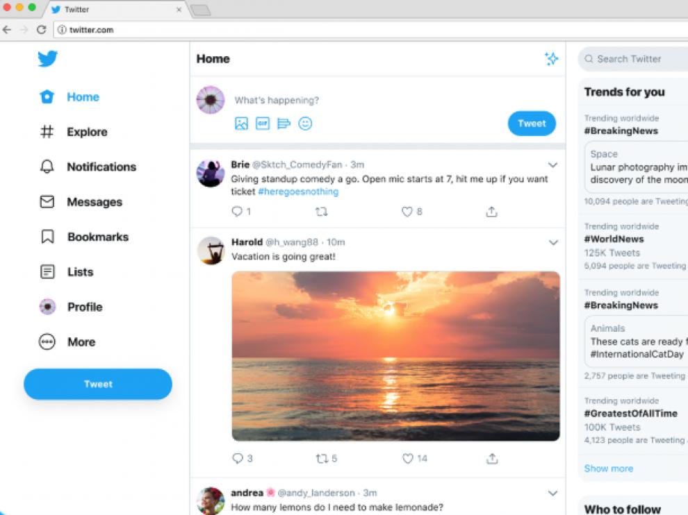 El nuevo diseño de Twitter.
