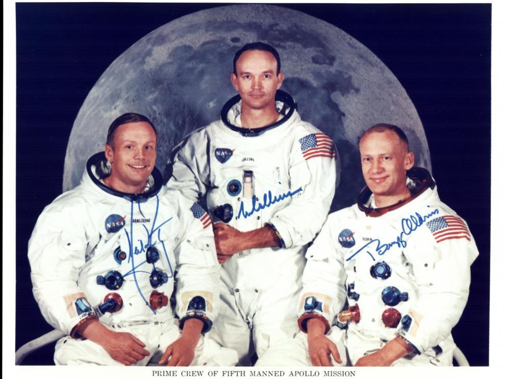Fotografía cedida por la NASA donde aparecen los astronautas del Apolo 11.