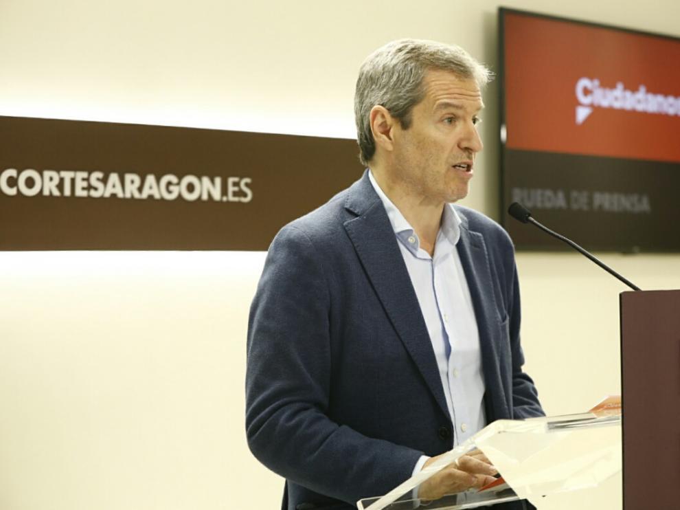 El portavoz de Ciudadanos en las Cortes de Aragón, Daniel Pérez Calvo.
