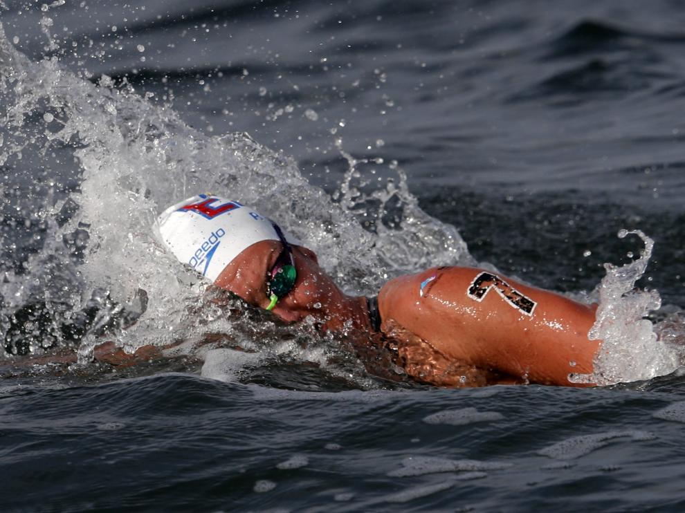 Swimming - 18th FINA World Swimming Championships - Women's 5km Open Water Final - Yeosu EXPO Ocean Park, Yeosu, South Korea - July 17, 2019.  Paula Ruiz of Spain competes. REUTERS/Evgenia Novozhenina [[[REUTERS VOCENTO]]] SWIMMING-WORLD/