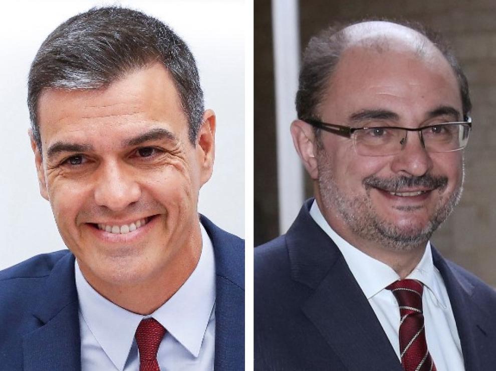 Pedro Sánchez y Javier Lambán