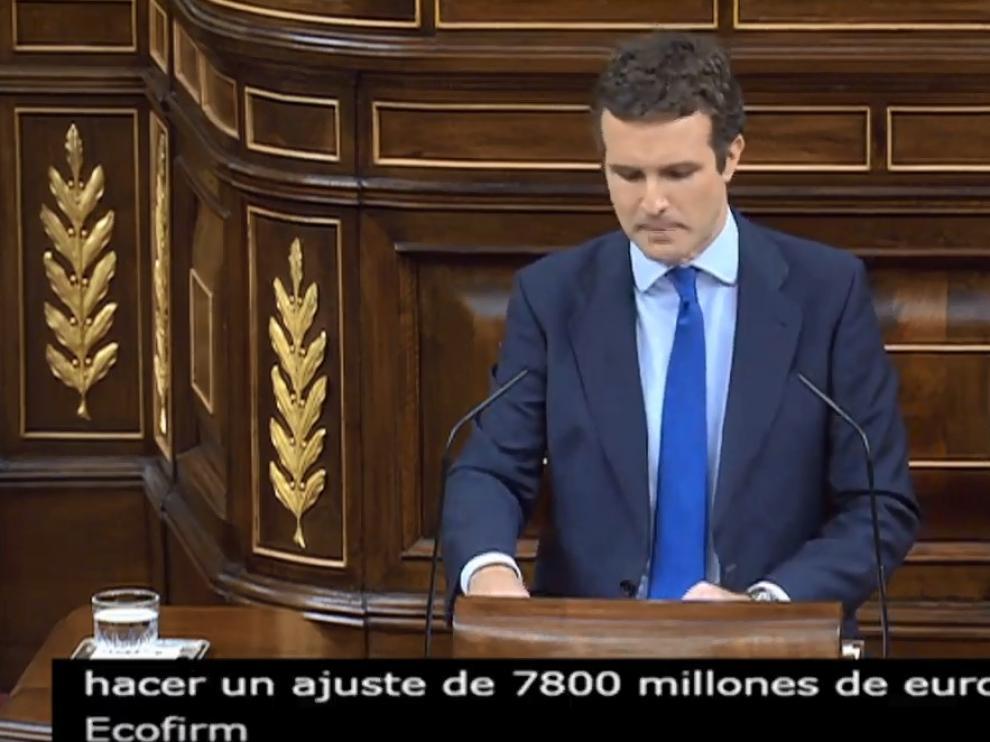 Pablo Casado, en la sesión de tarde de la primera jornada del debate de investidura.