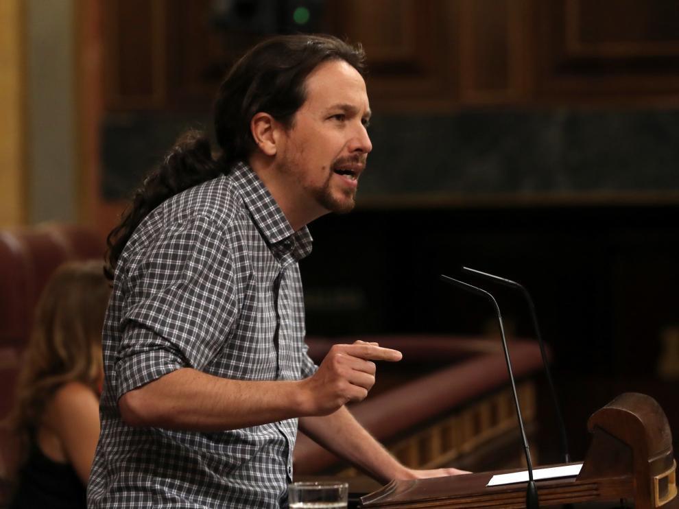 Pablo Iglesias en su turno de palabra durante la investidura.