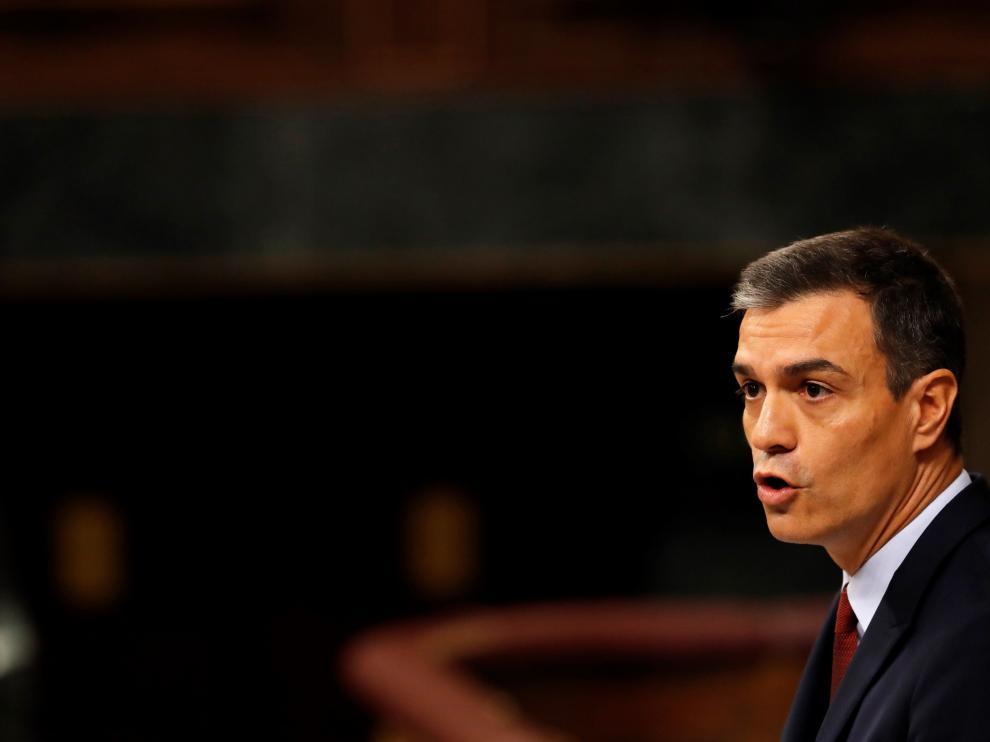 Pedro Sánchez, al inicio de su intervención.