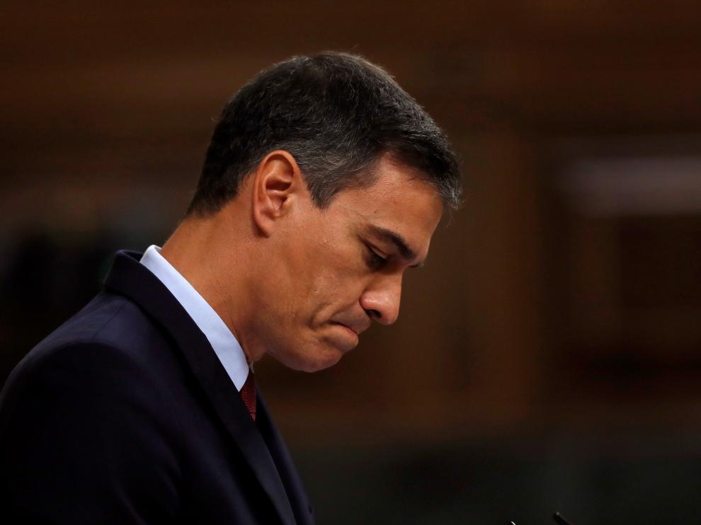 Pedro Sánchez durante una de sus intervenciones en la primera jornada del debate de investidura