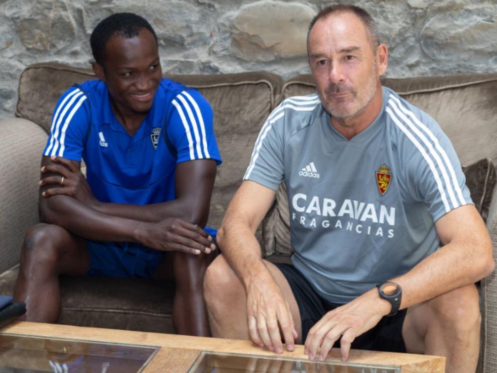 Víctor Fernández y Raphael Dwamena, en el Hotel Barceló Monasterio de Boltaña.