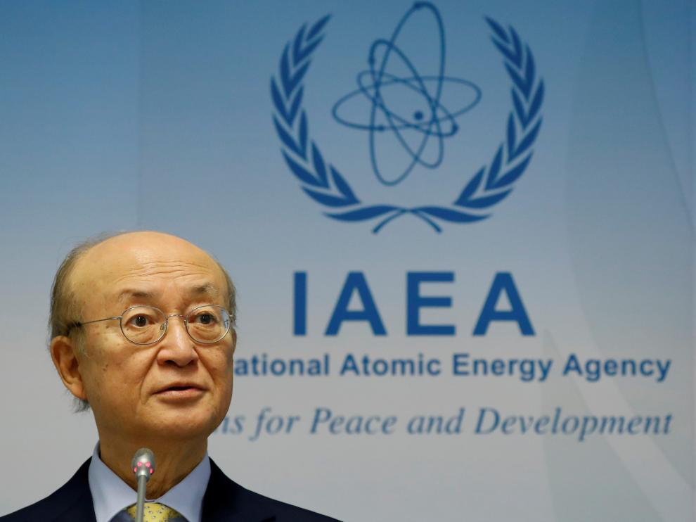 FILE PHOTO: International Atomic Energy Agency (IAEA) Director General Yukiya Amano addresses a news conference during a board of governors meeting at the IAEA headquarters in Vienna, Austria March 4, 2019.   REUTERS/Leonhard Foeger/File Photo [[[REUTERS VOCENTO]]] NUCLEAR-IAEA/AMANO
