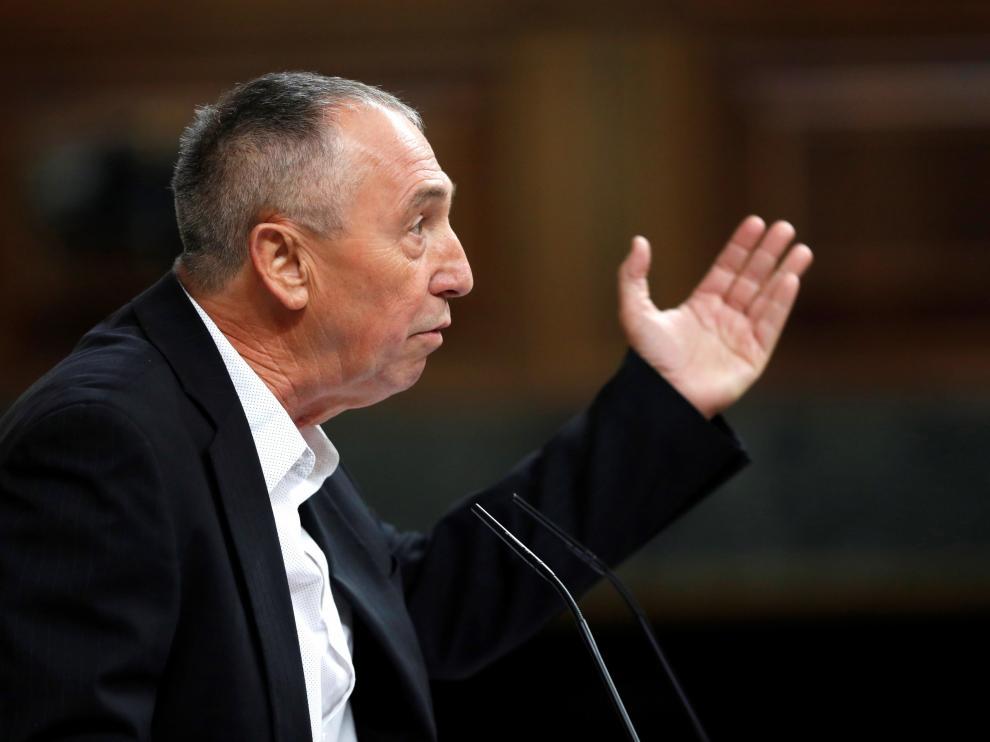 El portavoz de Compromís, Joan Baldoví, durante su intervención en el debate de investidura, este martes en el Congreso