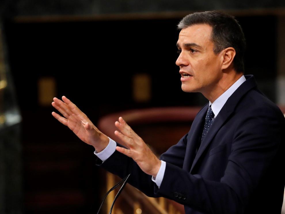 El presidente en funciones del Gobierno, Pedro Sánchez, durante la segunda jornada del debate de investidura.