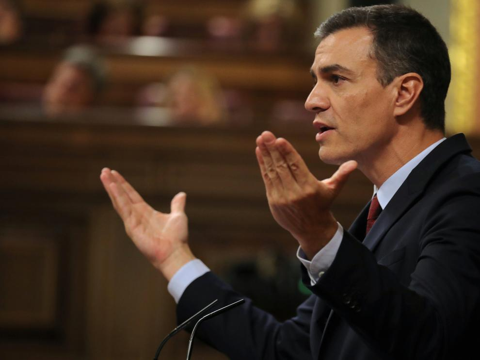 Spain's acting Prime Minister Pedro Sanchez delivers a speech during the investiture debate at the Parliament in Madrid, Spain, July 22, 2019. REUTERS/Sergio Perez [[[REUTERS VOCENTO]]] SPAIN-POLITICS/