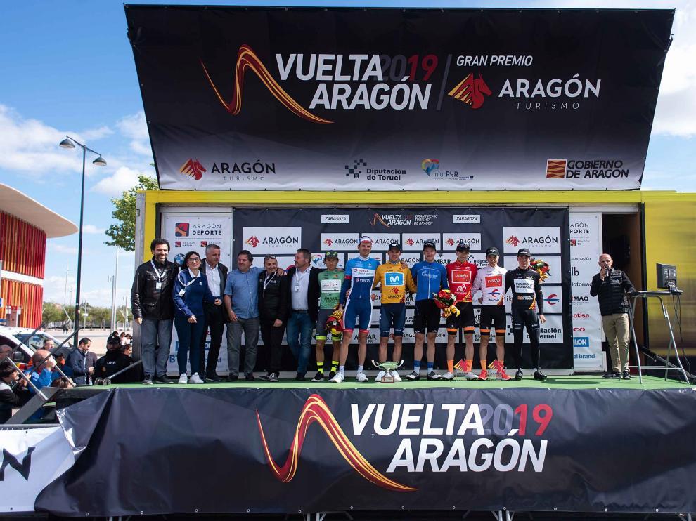 Podio de la Vuelta Aragón 2019.