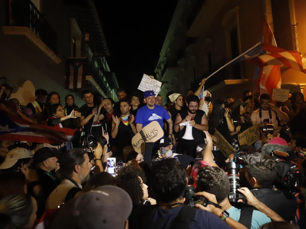 Protesta en Puerto Rico en la que participaron Residente y Bad Bunny.
