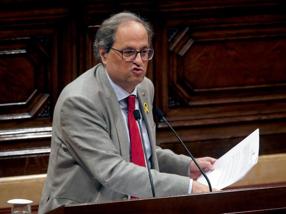 El presidente de la Generalitat, Quim Torra, durante el pleno del Parlament.
