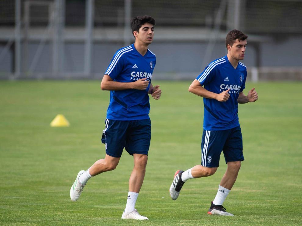 Clemente y Soro trotan juntos en un entrenamiento en la Ciudad Deportiva.