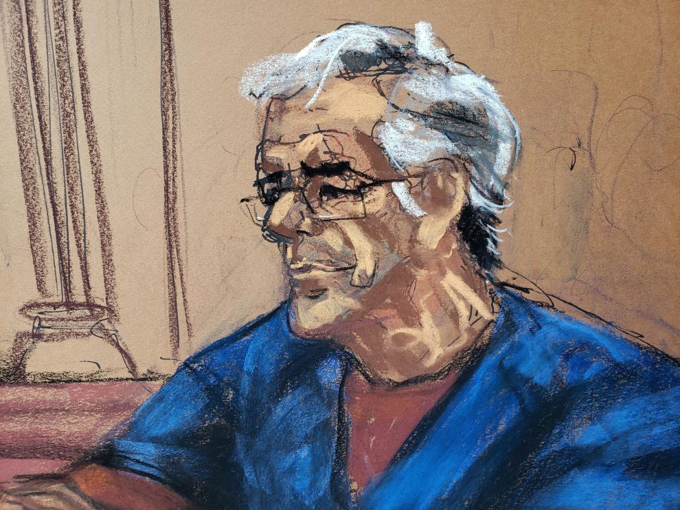 U.S. financier Jeffrey Epstein looks on during a bail hearing in his sex trafficking case, in this court sketch in New York, U.S., July 18, 2019. REUTERS/Jane Rosenberg NO RESALES. NO ARCHIVES. [[[REUTERS VOCENTO]]] PEOPLE-JEFFREY EPSTEIN/