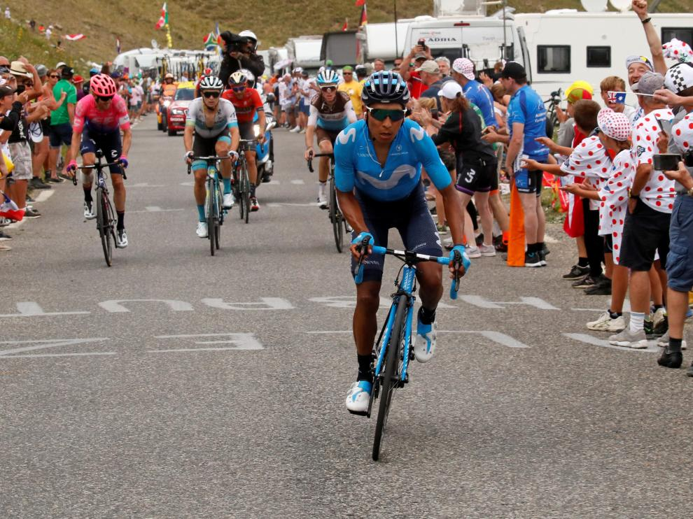 Cycling - Tour de France - The 208-km Stage 18 from Embrun to Valloire - July 25, 2019 - Movistar Team rider Nairo Quintana of Colombia attacks on the Col du Galibier. REUTERS/Gonzalo Fuentes [[[REUTERS VOCENTO]]] CYCLING-FRANCE/