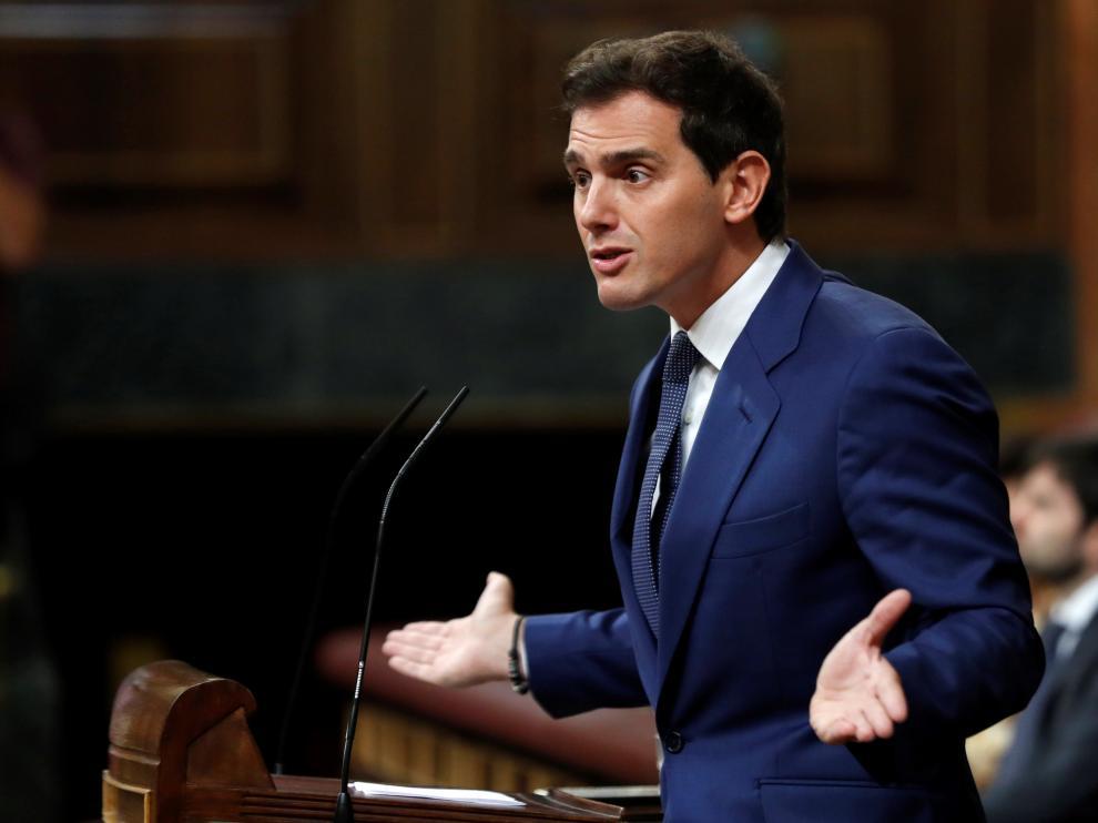 El líder de Cs, Albert Rivera, durante el debate de investidura.