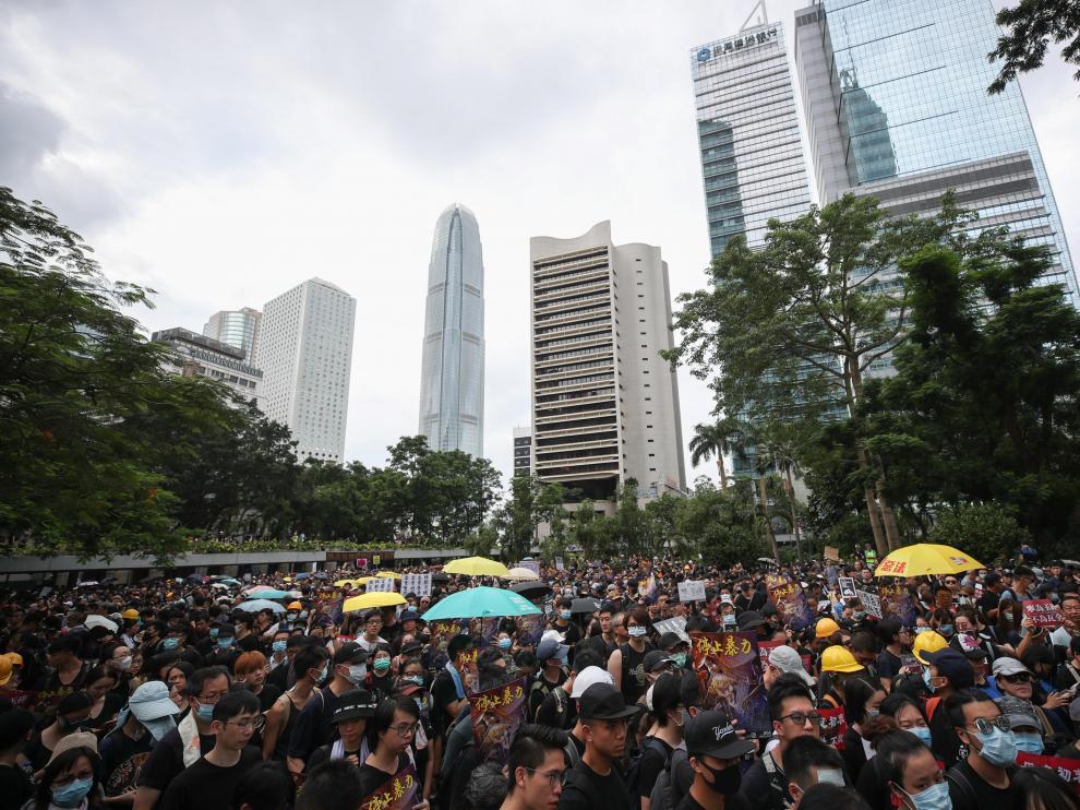 Segundo día de manifestaciones en las calles de Hong Kong.