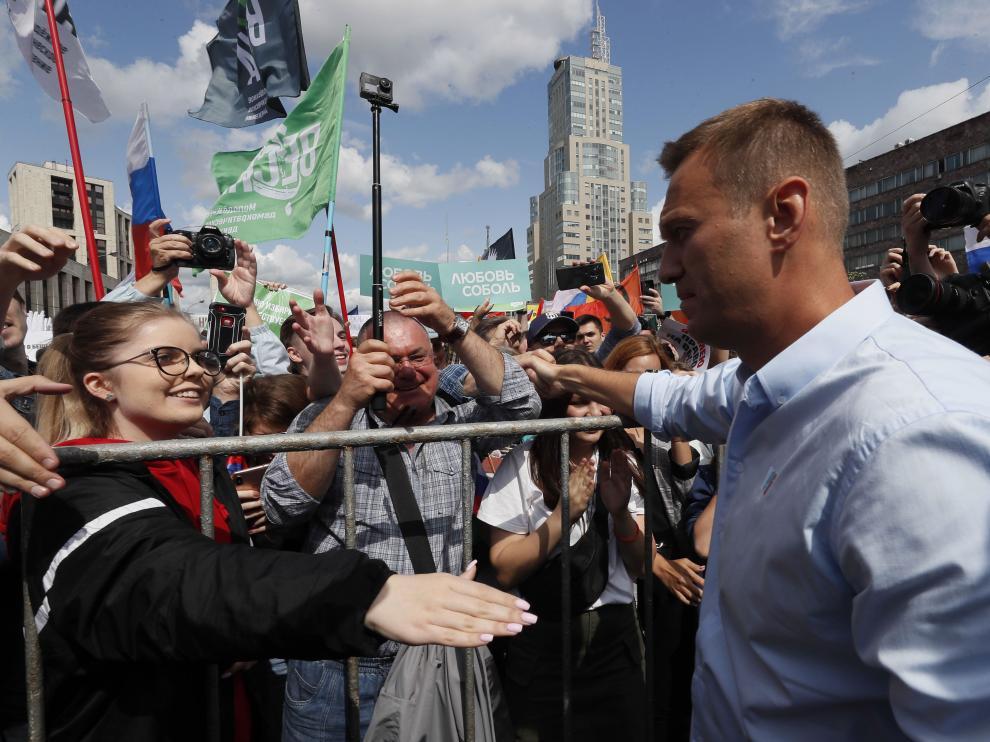 Alexei Navalni, el principal opositor de Putin, durante una manifestación en Moscú.