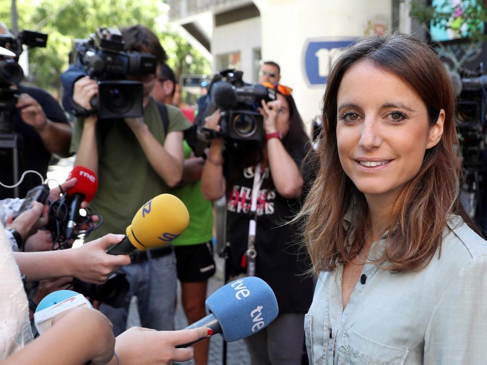 La delegada del área de Cultura, Turismo y Deporte del Ayuntamiento de Madrid, Andrea Levy, realiza declaraciones tras la entrega de premios del 37 Trofeo San Lorenzo, esta mañana en Madrid