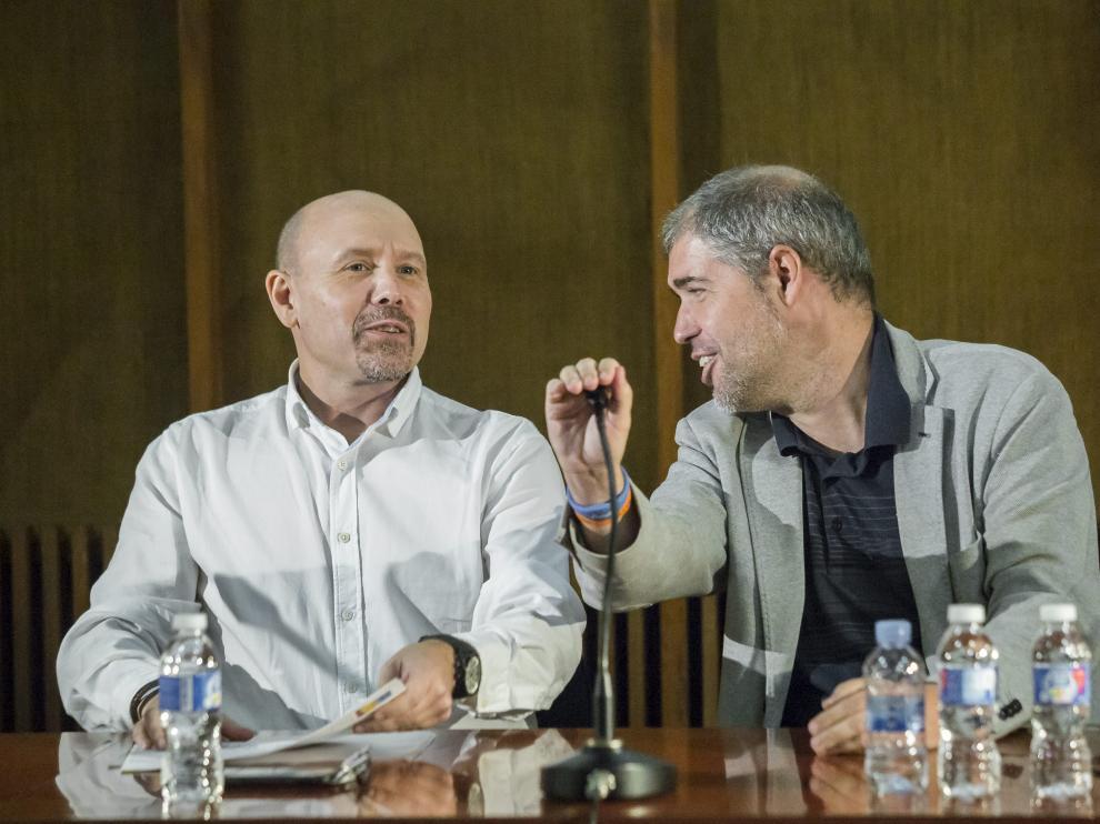 Manuel Pina, acompañado del secretario general de Comisiones Obreros, Unai Sordo.