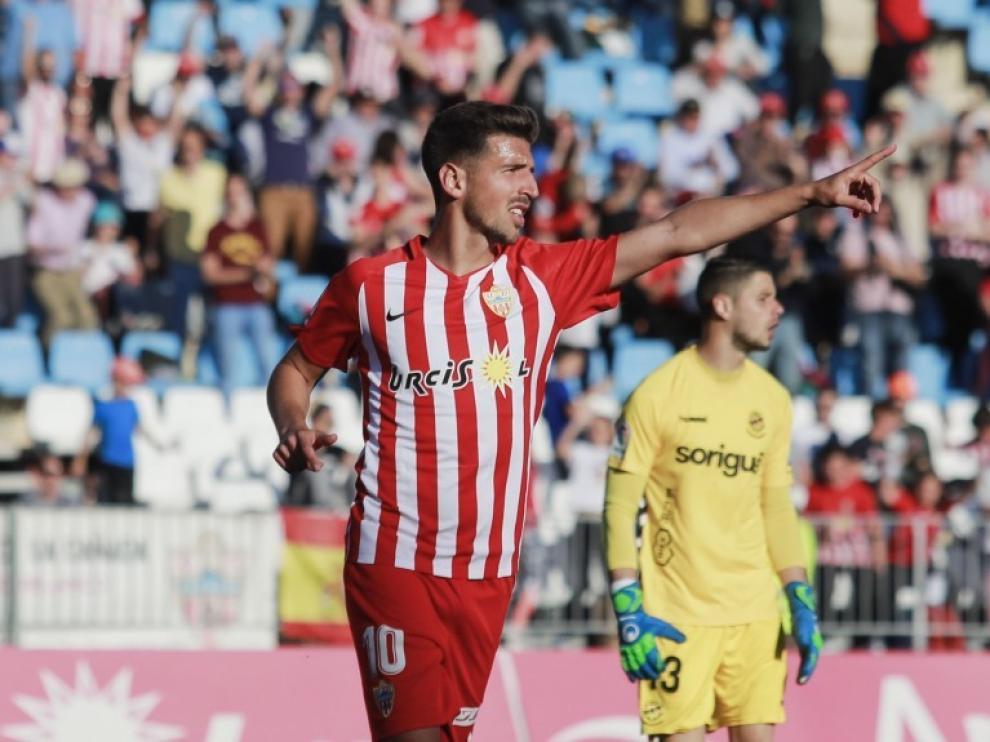Juan Carlos Real, con la camiseta del Almería durante la temporada pasada