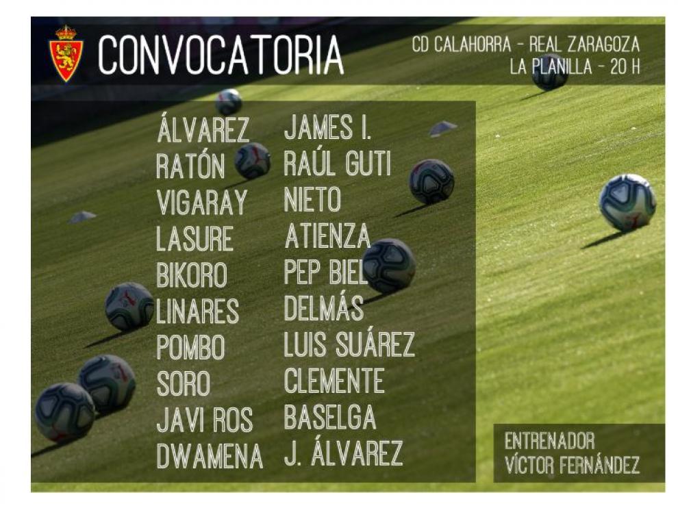 Lista de 20 citados por Víctor Fernández para el Calahorra-Real Zaragoza de este miércoles en La Rioja.