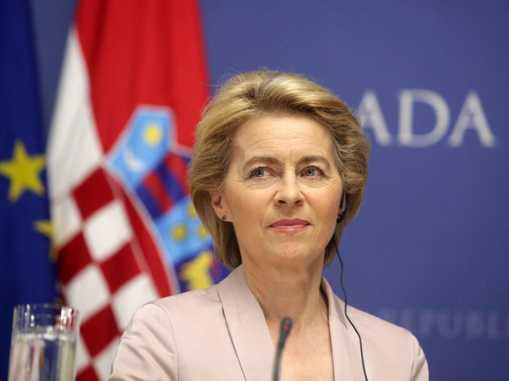 Zagreb (Croatia), 30/07/2019.- European Commission President Ursula von der Leyen looks on prior to her meeting with the Croatian prime minister during her official visit in Zagreb, Crotatia, 30 July 2019. (Croacia) EFE/EPA/ANTONIO BAT European Commission President Von der Leyen visits Croatia