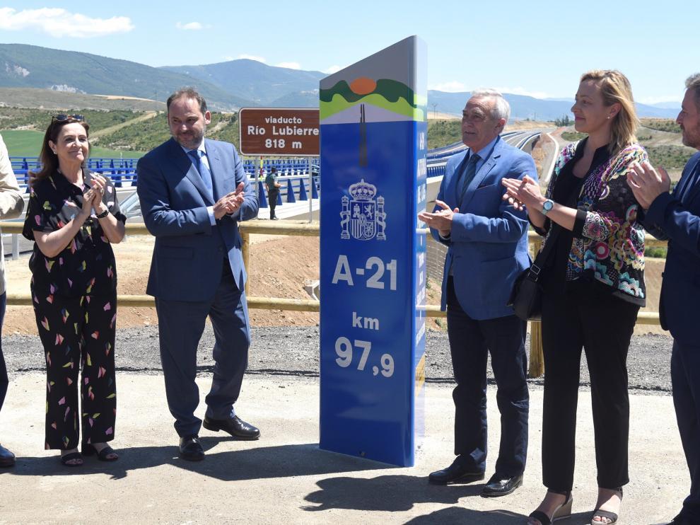 Ábalos viajó a Huesca el pasado 11 de julio para abrir el tramo anterior entre Jaca y Santa Cilia
