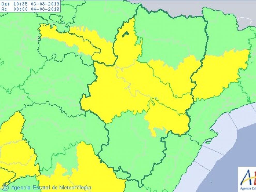 Alerta por altas temperaturas en el centro de Aragón