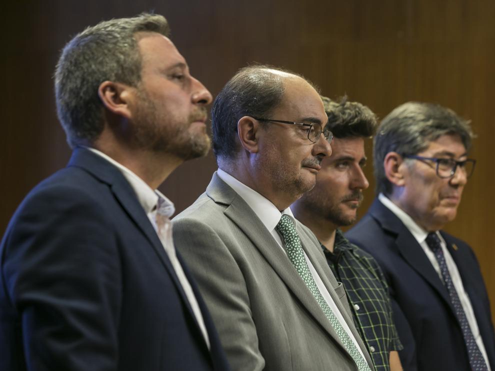 Los líderes de los cuatro partidos firmantes del pacto de gobierno.