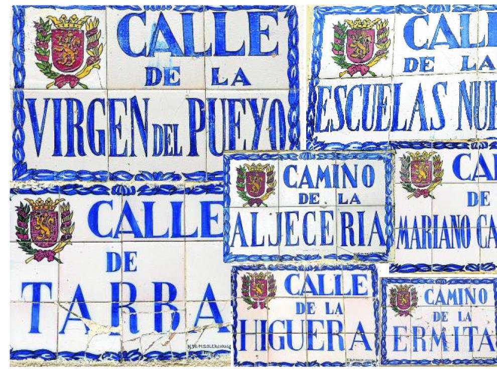 Varios ejemplos del conjunto de placas de rotulación urbana que datan de mediados del siglo pasado.