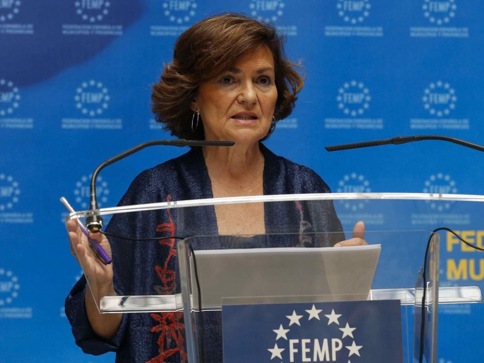 La vicepresidenta del Gobierno y ministra de Igualdad en funciones, Carmen Calvo.