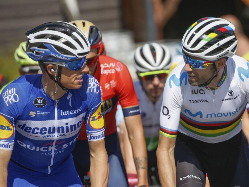 Enric Mas y Alejandro Valverde durante el Tour de Francia 2019.